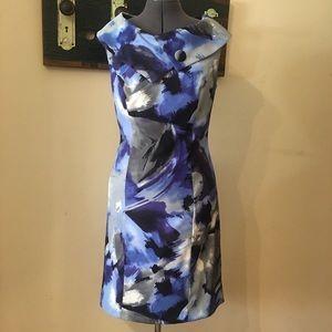 Dress Barn Blue Abstract Sheath Dress Size 12
